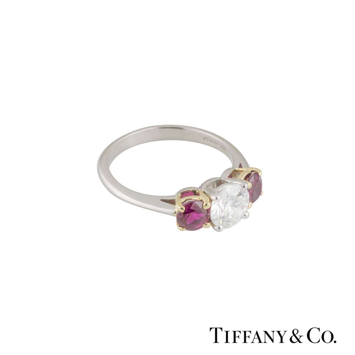 Tiffany & Co. Three Stone Diamond and Ruby Platinum Ring 1.26ct, G/VVS2